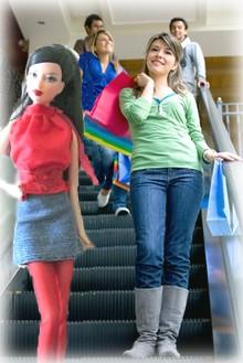 barbie on the escalator