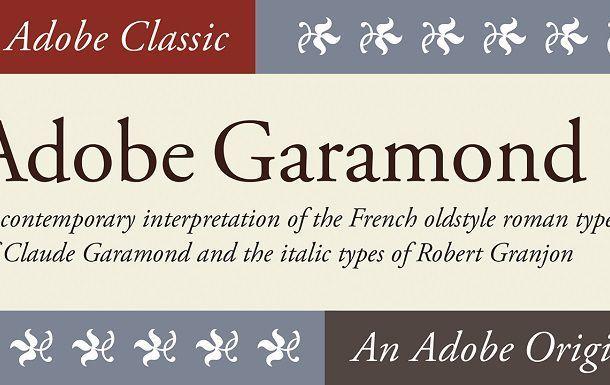 Adobe Garamond Font Family
