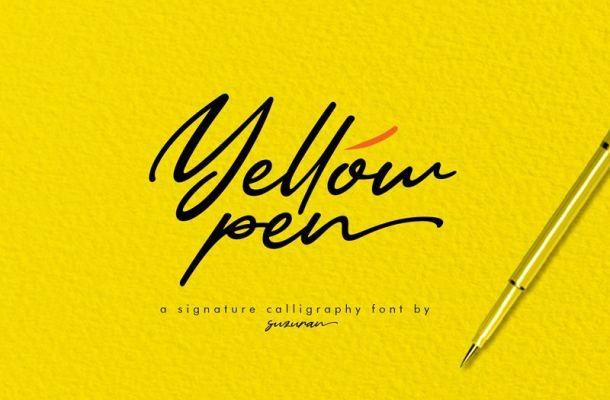 Yellow Pen Handwritten Font