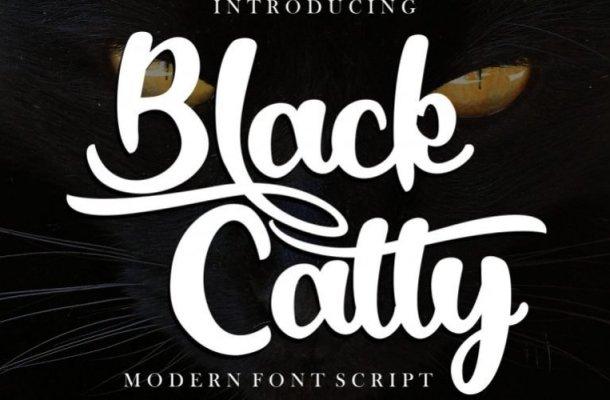 Black Catty Bold Script Font