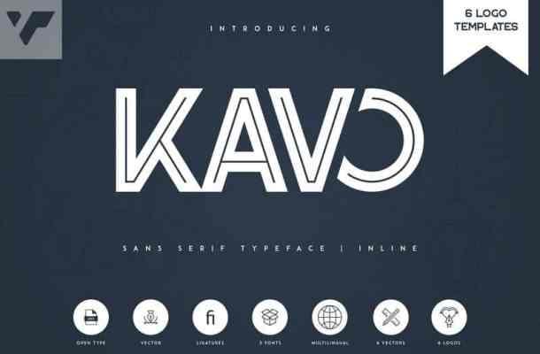 Kavo Inline Typeface – 3 weight + 6 Logo Templates