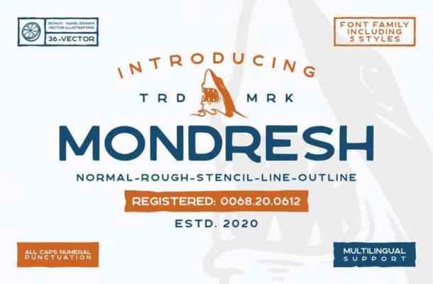 Mondresh Rough Display Font