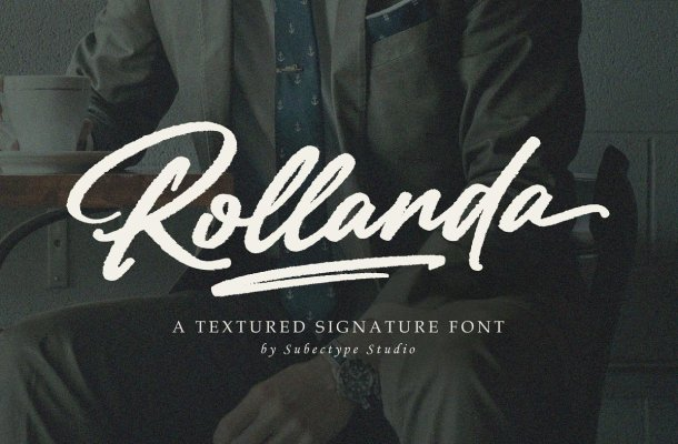 Rollanda Textured Signature Script Font