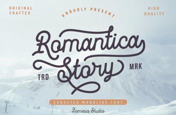 Romantica Story Monoline Script Font