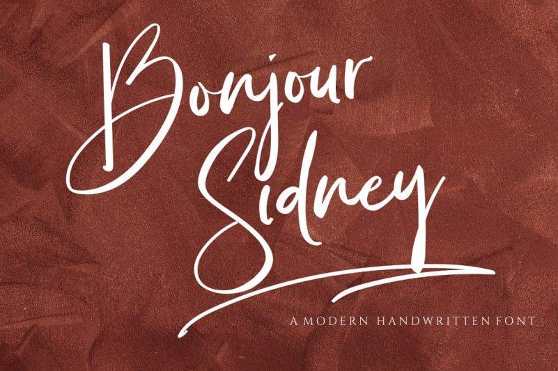 Bonjour Sidney Calligraphy Font