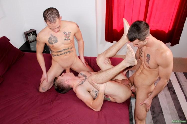 Hot Military Bareback Threesome 02