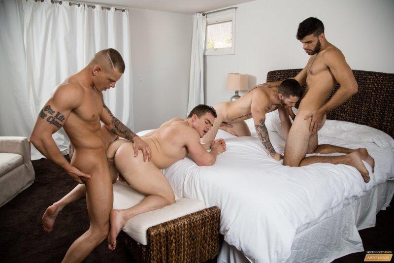 Sexy Guys Having Bareback Foursome 03