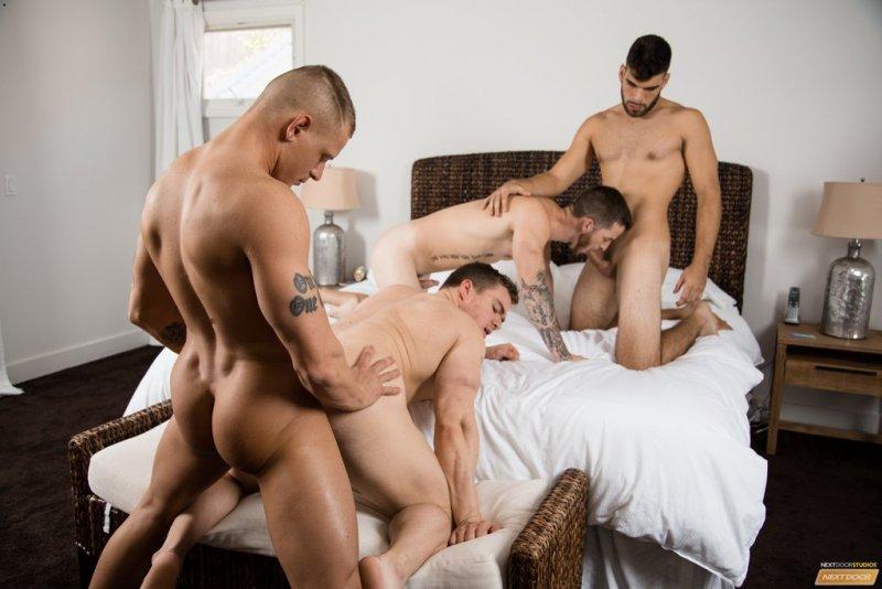 Sexy Guys Having Bareback Foursome 04