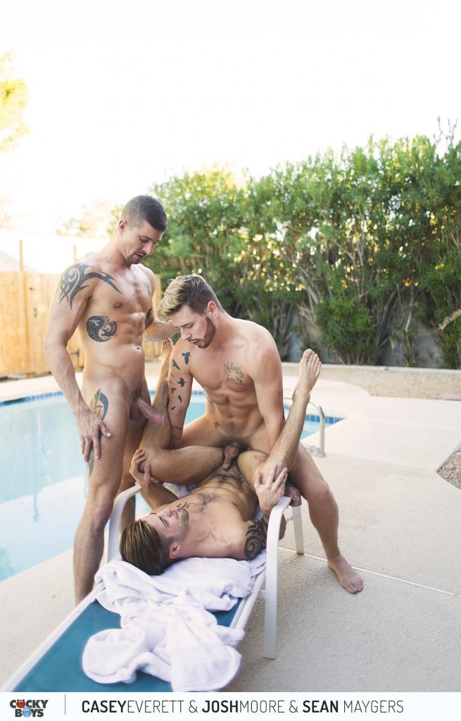 Josh Moore and Sean Maygers Fuck Casey Everett Poolside 13