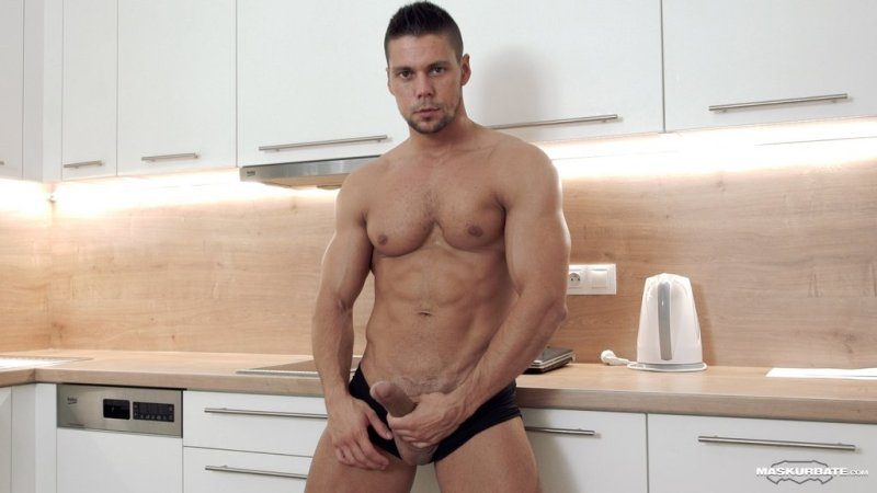 Hot Muscle Hunk Jerks off 01