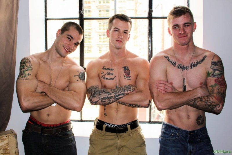 Three Hot Military Guys Fuck Raw 03