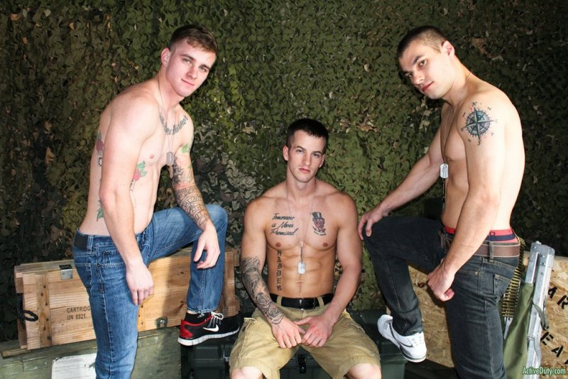 Three Hot Military Guys Fuck Raw 05