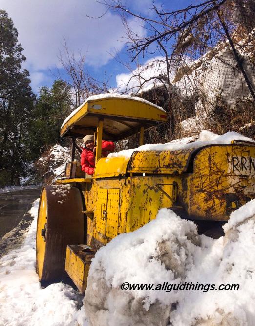 Road Roller on way to Mashobra - Beautiful Shimla after Snowfall