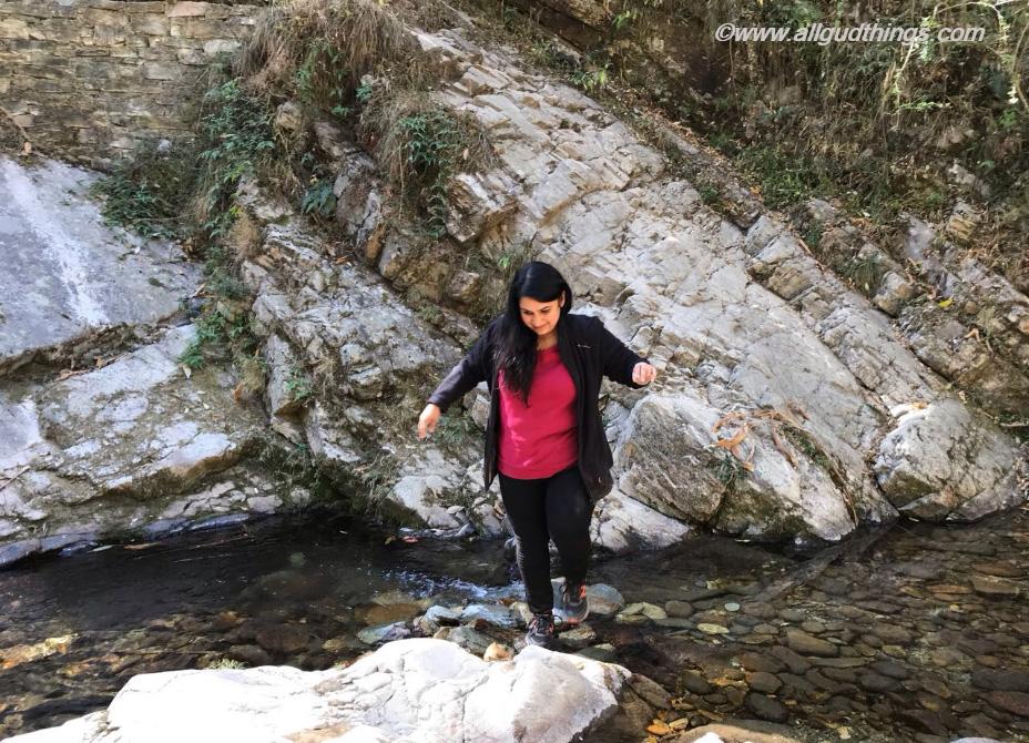 Crossing Stream on the way to Bhalu Gaad Waterfall in Mukteshwar Town