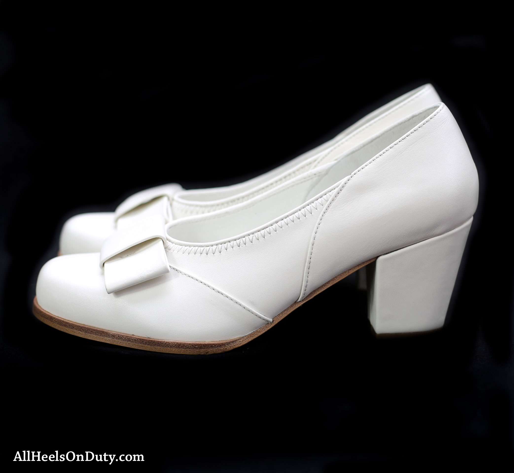 newest style of how to buy most fashionable 1940s White Bow Pumps