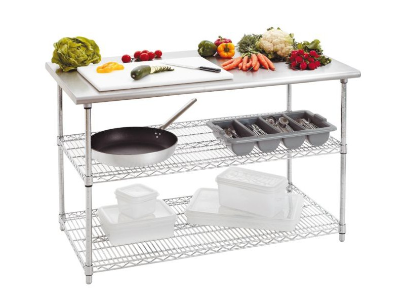table cuisine inox 130 cm 2 etageres