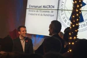 Emmanuel Macron face à Eric Carreel, fondateur des start-up Withings, Sculpteo et Invoxia. © Charlie Perreau