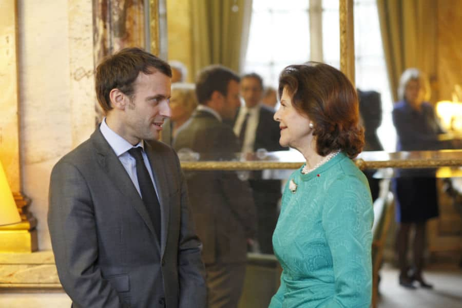 Emmanuel Macron et la Reine Silvia de Suède. © Chambre de Commerce Suédoise en France