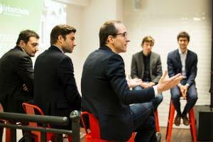 """Plusieurs patrons de start-up ont débattu autour de la notion de """"scale-up"""" dans les nouveaux locaux parisiens de La Fourchette. © La Fourchette"""