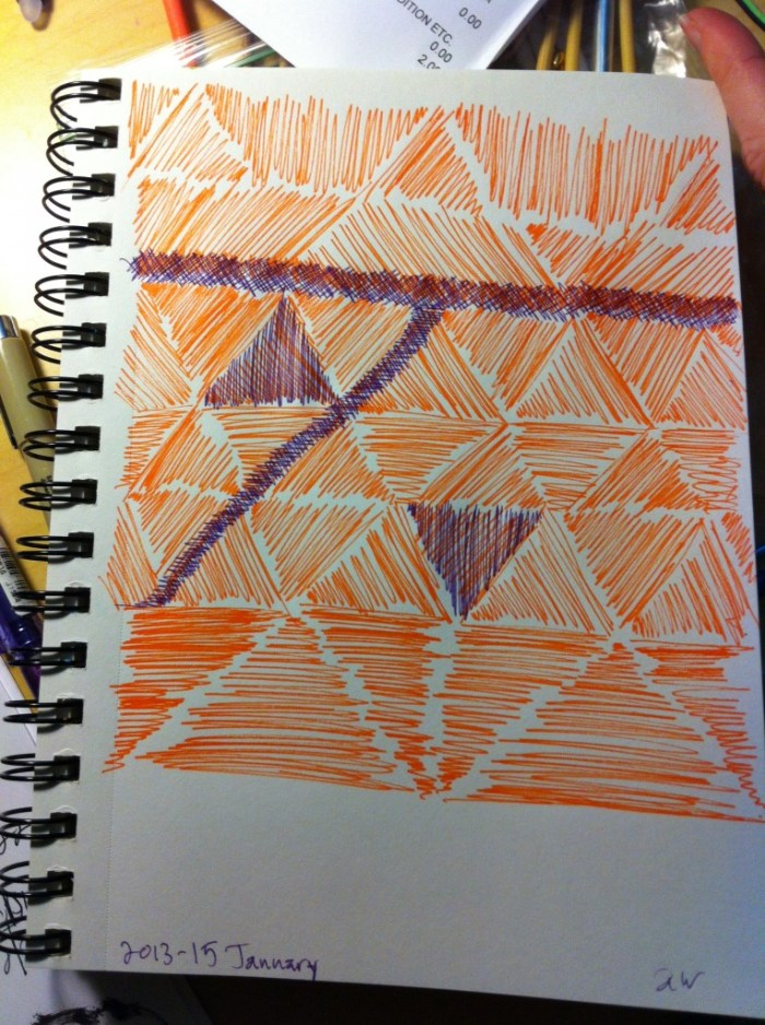 Orange fineliner and purple marker