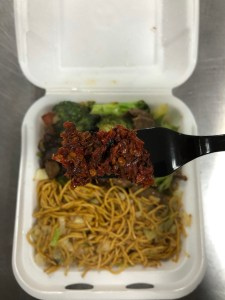 Picture showing panda express meal garnished with rodo crisps