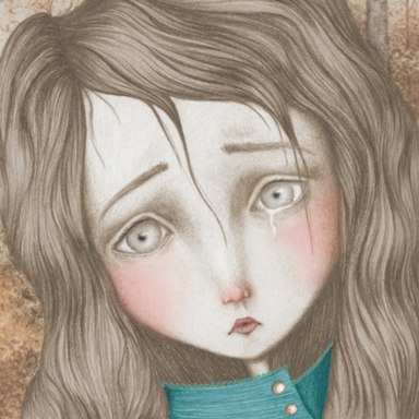 stylised illustration of girl crying_allied artists