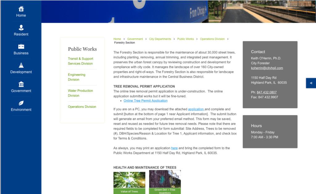 Highland Park Tree Removal Permit
