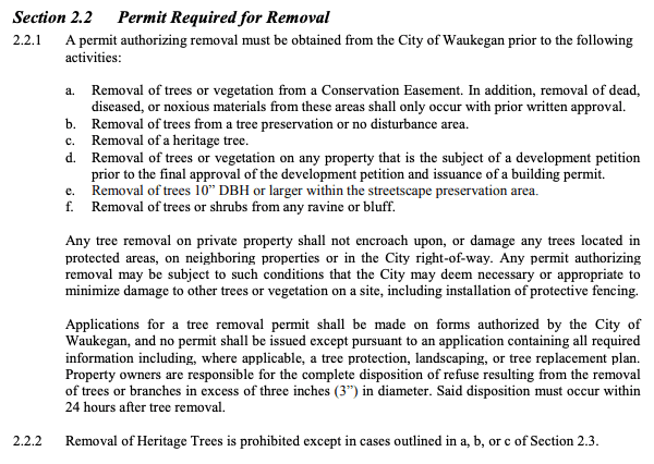 tree removal permit waukegan il