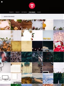 The photo selection screen in Typorama lets you choose between existing photos or solid colour backgrounds, or lets you search Pixabay for stock images