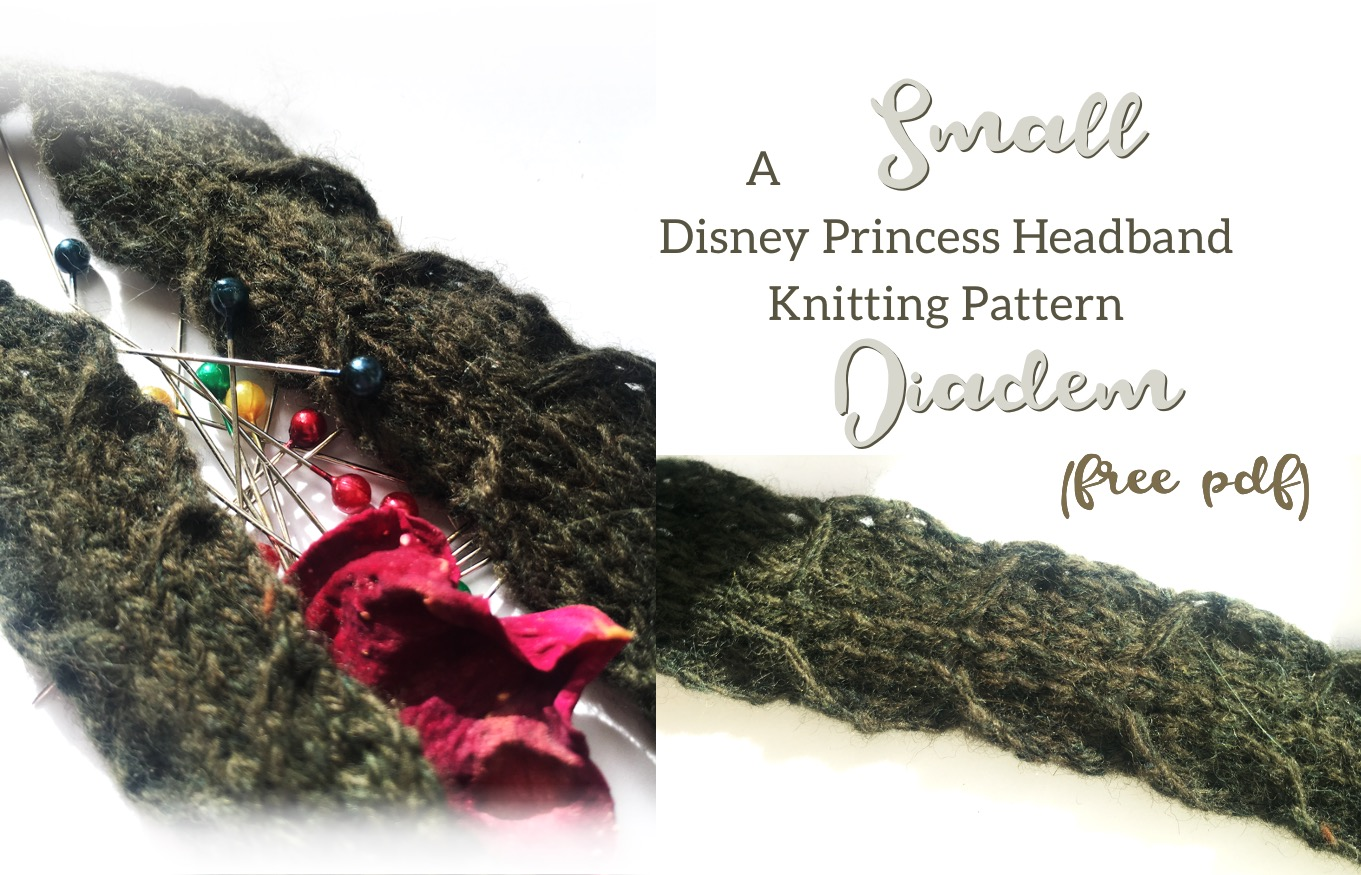 Small Diadem Disney Princess Headband free knitting pattern post feature image