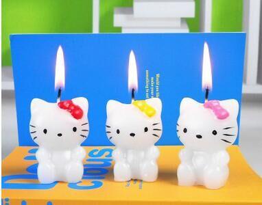 White Cat Birthday Candle