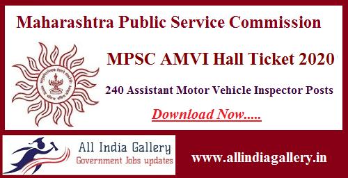 MPSC Asst Motor Vehicle Inspector Hall Ticket 2020