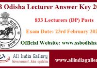 SSB Odisha Lecturer Answer Key