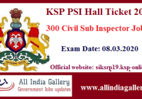 KSP PSI Hall Ticket 2020