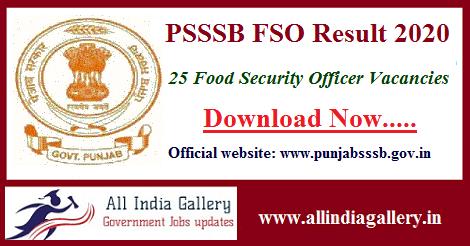 Punjab SSSB Food Safety Officer Result 2020