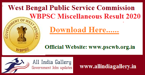 WBPSC Miscellaneous Services Result 2020