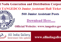 TNEB TANGEDCO Junior Assistant Hall Ticket 2020
