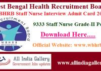 WBHRB Staff Nurse Interview Admit Card 2020