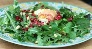 warme salade met geitenkaas en granaatappel - AllinMam.com
