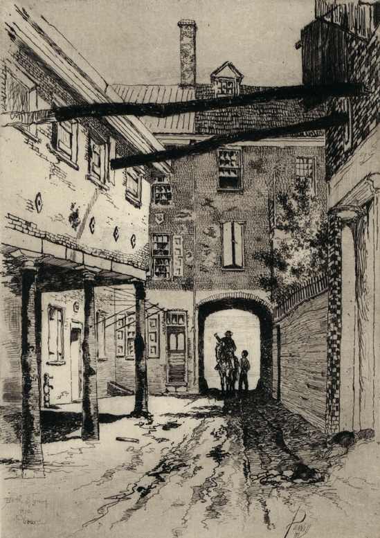 J. Pennell, Plow Inn Yard, 1881; etching [www.allinsongallery.com]