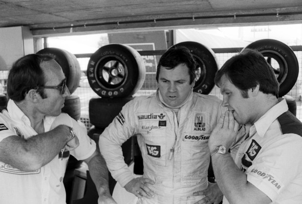 (L to R): Frank Williams (GBR) Williams Team Owner talks with race winner Alan Jones (AUS) and Patrick Head (GBR) Williams Director of Engineering.German Grand Prix, Rd 10, Hockenheim, Germany, 29 July 1979.