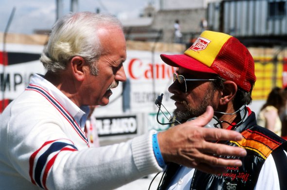 Colin Chapman (GBR), Lotus Team Owner, left, was unhappy that his revolutionary twin-chassied Lotus 88 was protested and excluded. United States Grand Prix West, Rd1, Long Beach, California, USA.15 March 1981. BEST IMAGE