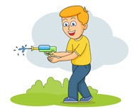 boy shooting toy water gun