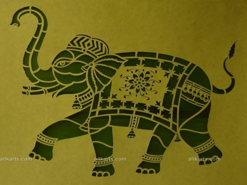 Sanjhi Art Elephant Painting