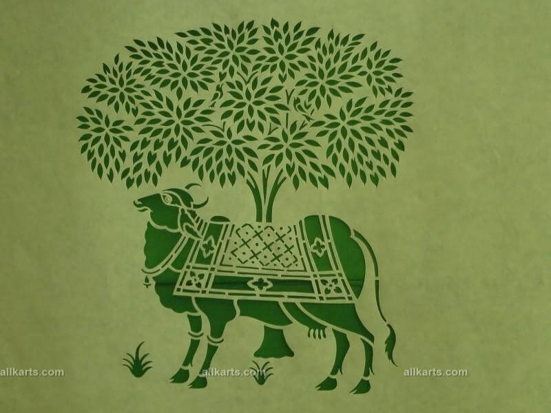 Sanjhi Art Cow with Tree Wall Hanging