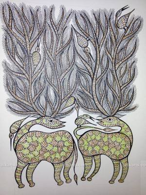 Two Stags with Birds Bhil Art