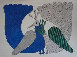 Peacocks Gond Painting