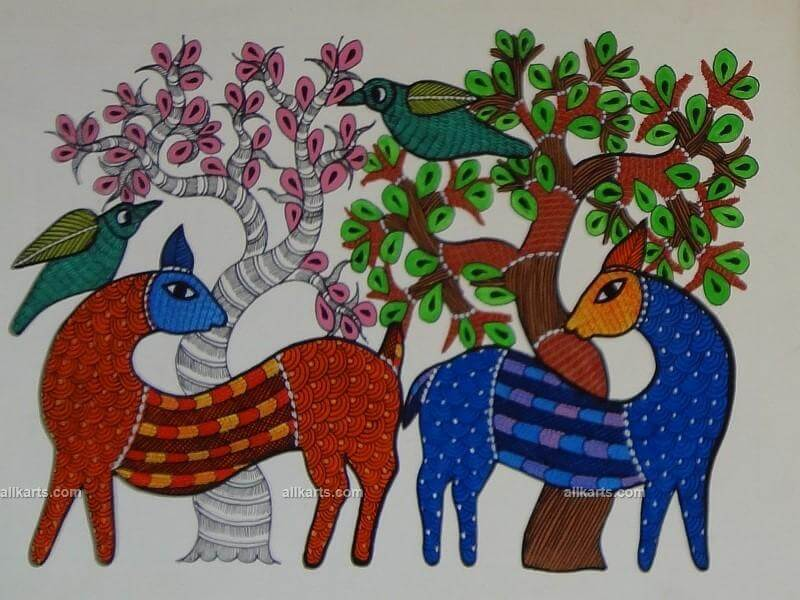 Birds and Fawns Gond Painting