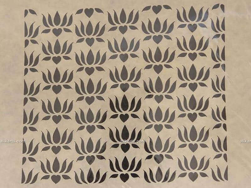 Sanjhi Art Lotus Flowers Wall Hanging