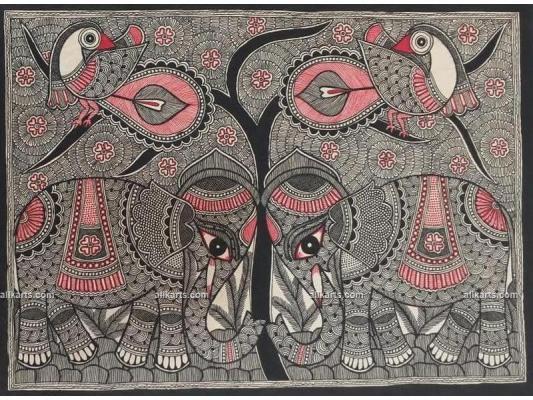 Kachni Style Madhubani Painting of Elephant
